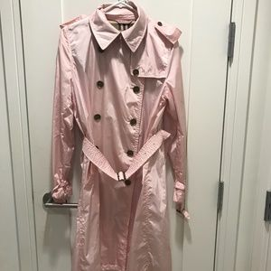 Burberry Light Pink Double Breasted Nylon Coat